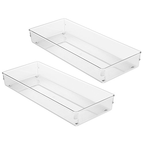 InterDesign Linus Kitchen Drawer Organizer – Set of 2 Storage Trays for Silverware and Utensils - Clear