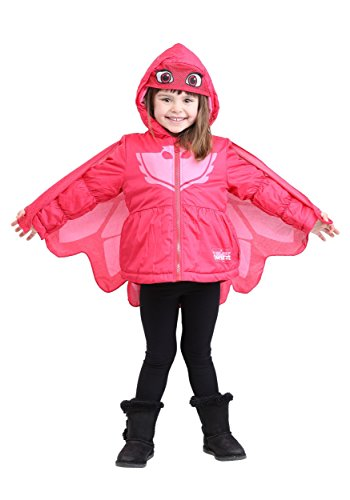 PJ Masks Big Girls Owlette Puffer Coat, red, 2T ()