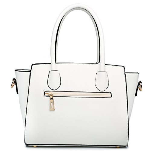 Miss Lulu amp; Shoulder Look Leather Classic White Bag Black Winged W184gqnW