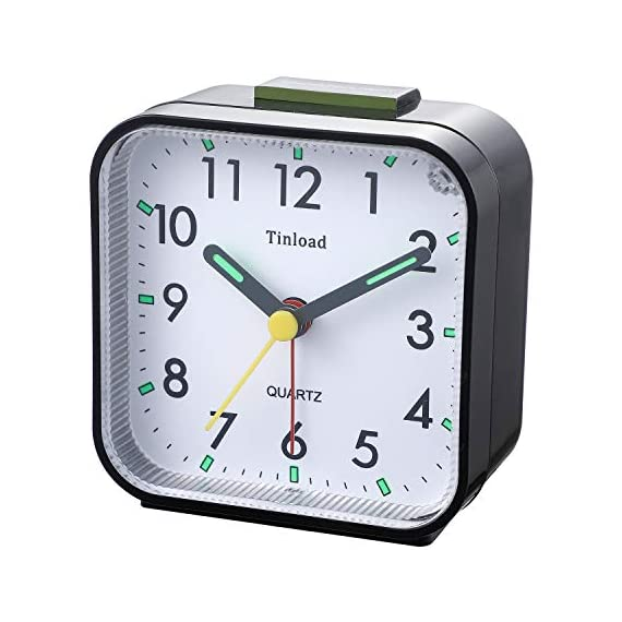 "Tinload Small Battery Operated Analog Alarm Clock Silent Non Ticking, Ascending Beep Sounds, Snooze,Light Functions, Easy Set(Black) - Compact Size -- measured at 3. 25"" x 3. 25"" x 1. 6"" , light weight (3. 5 oz), 1 AA battery operated, fits perfectly as a desk /bedside / nightstand wake up clock, but also great for travel alarm clock . Completely Silent - Super quiet concise design alarm clock without annoying tick tock sound, ideal for those who need complete silence to fall asleep. Snooze and Light Function- Snooze and light button locates on easy-to-find top place. Hold face down for 5 minutes snooze or to light up the clock face on demand to see the dial momentarily in the darkness. - clocks, bedroom-decor, bedroom - 41fk04aR3cL. SS570  -"