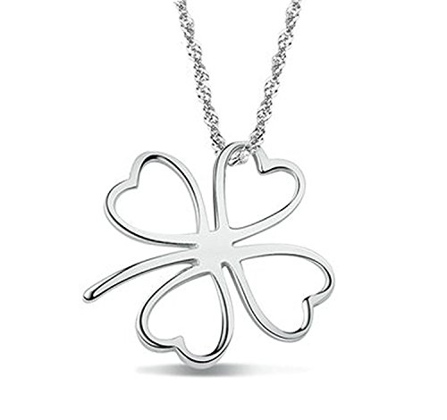 Forfamilyltd Womens Sterling Silver Four Leaf CLover Lucky Symbol Pendant Necklace, Come With Chain And Gift ()