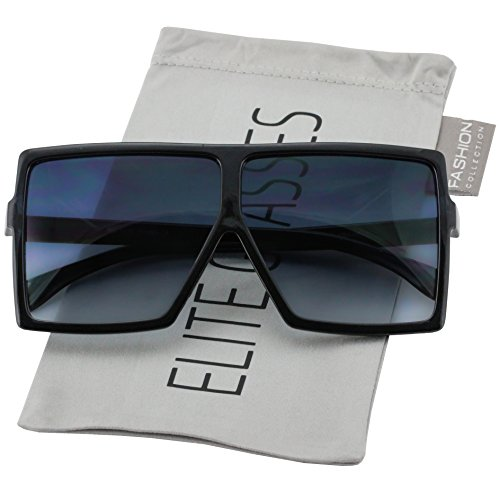 21c2a4303d Elite Big XL Large Oversized Super Flat Top Square Multi Tone Color Fashion  Sunglasses (Black)
