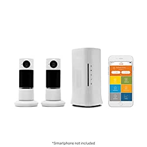 Home8 Video-Verified Monitoring Alarm System with Two (2) Twist HD Security Cameras for Home/Baby/Pet, Wireless Security System with Free Basic Service, featuring Amazon Alexa Integration