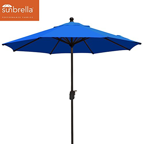 EliteShade Sunbrella 9Ft Market Umbrella Patio Outdoor Table Umbrella with Ventilation,Bonus Weatherproof Cover (Sunbrella Royal Blue)