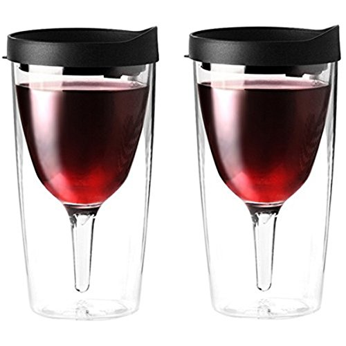 (Vino2Go Double Wall Acrylic Tumbler with Black Lids, 10 oz, Pack of 2)