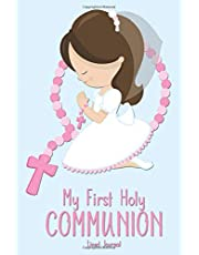 My First Holy Communion Lined Journal: Brunette Girl