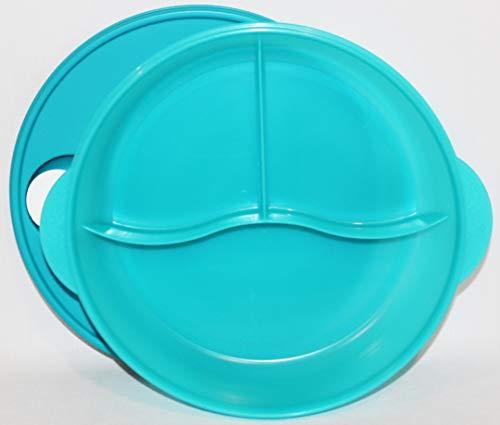 - Tupperware Crystalwave Large Divided Microwave Dinner Dish Blue