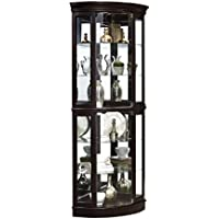 Pulaski P021577 Sable Half Round Mirrored Curio Display Cabinet, 31.25 x 22.0 x 76.0 H, Brown