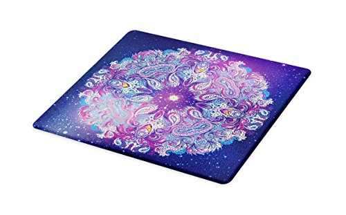 Ambesonne Ethnic Cutting Board, Spirituality Symbol Yoga and Meditation Cosmos Theme Psychedelic Composition, Decorative Tempered Glass Cutting and Serving Board, Small Size, Purple Baby Pink by Ambesonne