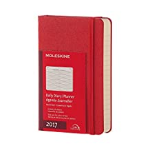 Moleskine 2017 Daily Planner, 12M, Pocket, Scarlet Red, Hard Cover (3.5 x 5.5)