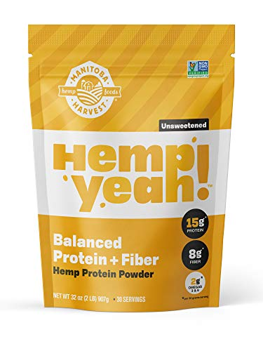Manitoba Harvest Hemp Yeah Balanced Protein Fiber Powder, Unsweetened, 32oz, with 15g protein, 8g Fiber and 2g Omegas 3 6 per Serving, Keto-Friendly, Preservative Free, Non-GMO