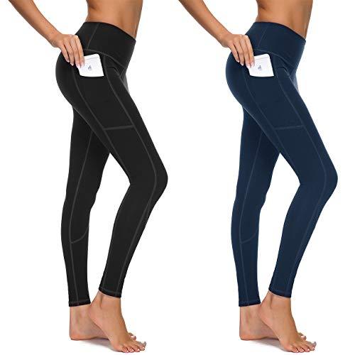 HOFI High Waist Yoga Pants for Women Side & Inner Pockets with Tummy Control Sports Leggings 2 Packs ()