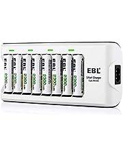 EBL batterijlader 8 oplaadslots met 8 x AA oplaadbare batterijen