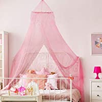 Home and More Store Princess Bed Canopy - Beautiful Silver Sequined Childrens Bed Canopy in Pink