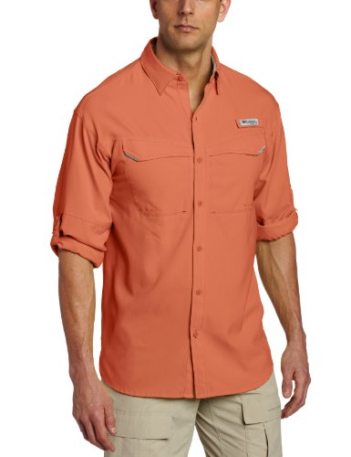 Columbia Mens Low Drag Offshore Long Sleeve Shirt, Bright Peach, X-Large