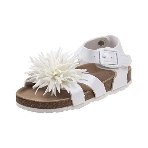 Laura Ashley Girls Pointed Flower Sandal, White, 7