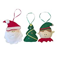 DouDou Esferas de Fieltro, personajes navideños, Kit Santa Claus, Duende y árbol de navidad,