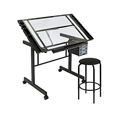 Studio Designs Vision 2 Piece Glass Drafting Drawing Table (STDN-10061)