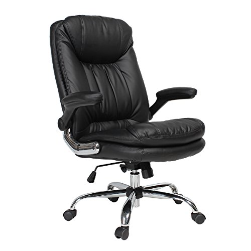 YAMASORO Ergonomic High-Back Black Executive PU Leather Office Chair with Flip-Up Arms, Swivel, Big and Tall BLACK