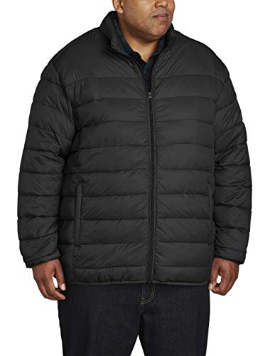 (Amazon Essentials Men's Big & Tall Lightweight Water-Resistant Packable Puffer Jacket, Black, 3X)