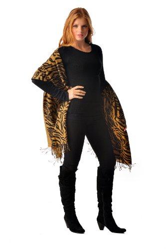"""Cashmere Boutique: Tiger Print Cashmere Shawl (Color: Tiger Print, Size: 36"""" x 80"""")"""
