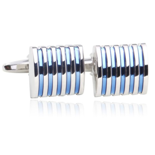 Blue Slass Cufflinks 18K Platinum Plated Gift Boxed By Digabi