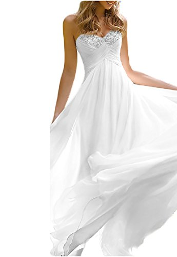 Favors Dress Women's Sweetheart Beach Wedding Dress Bead Bridal Gown Empire White B 4