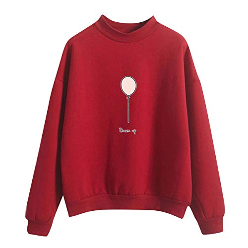 Sweatshirt Women O-Neck Solid Color Balloon Pattern Long Sleeve Plus Velvet Sweatshirt Moletom Feminino Inverno Letter Print Red XXL