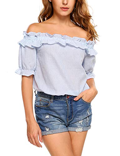 - ELESOL Womens Casual Short Sleeve Tops Off Shoulder T-Shirt Blouse Small Blue
