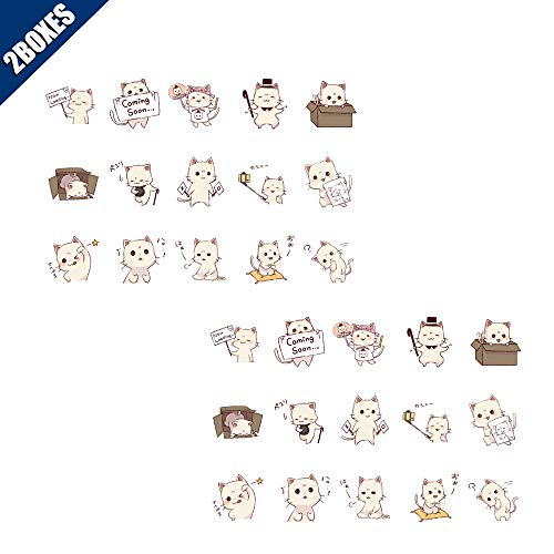 KOOBOOK 2Sets(45pcs/Set) Kawaii Cute Cat Stickers DIY Scrapbooking Photo Album Decorations Label Stickers School Office Supplies Hand Made Gift (List Of Best Selling Albums Of All Time)