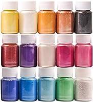 DEWEL 15er×10ml Epoxidharz Farbe, Metallic Farbe Resin Pulverfarbe Seifenfarbe Pigmentpulver Mica Pulver Powder zur...