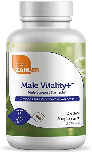 Zahler Male Vitality+, Male Fertility Supplements, Male Formula Supporting Energy and Reproductive Wellness, Certified Kosher, 120 Tablets