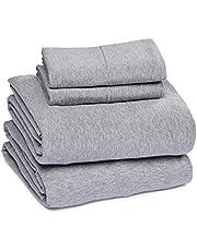 AmazonBasics Heather Cotton Jersey Bed Sheet Set - Queen, Light Grey