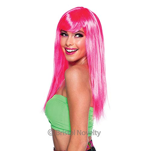 Bristol Novelty BW876 Passion Long Wig, Neon Pink,