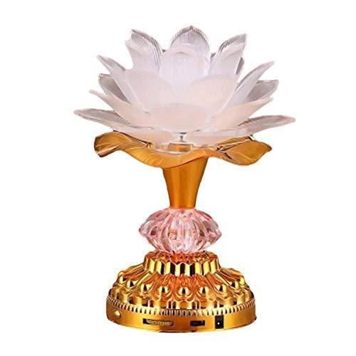 nattiness Lotus Crystal Candle Holder, 7 Colorful LED Lotus Buddhist Lamp, Built 13 Buddhist Songs, Buddha Lotus Light, Buddhist Supplies - Gold