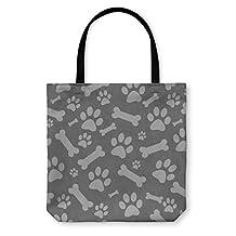 Gear New Tote Bag, Shoulder Tote, Hand Bag, Gray Dog Paw Prints And Bones Tile Pattern Repeat