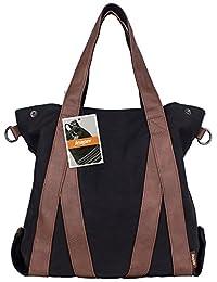 Leaper Vintage Casual Canvas Tote Satchel Hobo Handbag Shopper Shoulder Sling Bag(Black)