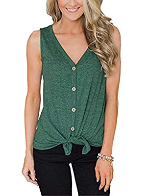 Barlver Womens Tie Front Button Down Shirts V Neck Loose Casual Plain Tunic Tank Top S-XXL