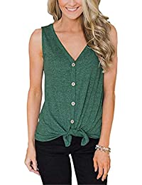 cd1bea1de2ab Womens Tie Front Button Down Shirts V Neck Loose Casual Plain Tunic Tank Top  S-