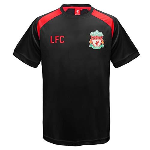 Liverpool Fc Home Shirt - Liverpool FC Official Football Gift Mens Poly Training Kit T-Shirt Black XXL