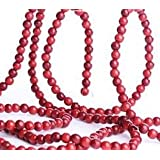 Factory Direct Craft Cranberry Look Burgundy & Red Wood Bead Garland for Christmas Tree and Holiday Decorations - Create an Old Fashion Looking Christmas Tree 9 Ft