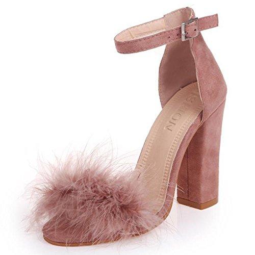 YING LAN Women Fluffy Faux Fur Ankle Strap Open Toe Stiletto Party Dress High Heel Shoes Sandal Pink