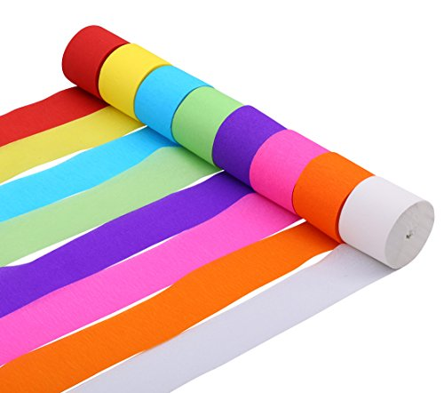 82ft Streamer Paper Decorations Assorted Colors Crepe Paper for Birthday Party Wedding Decoration, 8 Rolls (Party Crepe Streamer)