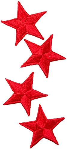 Simplicity Red Star Applique Clothing Iron On Patch, 4pc, 1.25