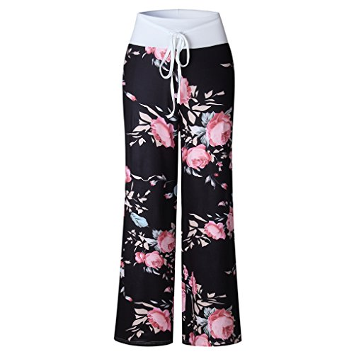 Nero Hop Vita Harem Wide 02 Hippie Stampa Pantaloni Pantalone Leg Hip Alta Lunghi Donna Yoga Boho Baggy Pants Estivo Minetom Floreale Danza Sportivi AFxq0Bwx