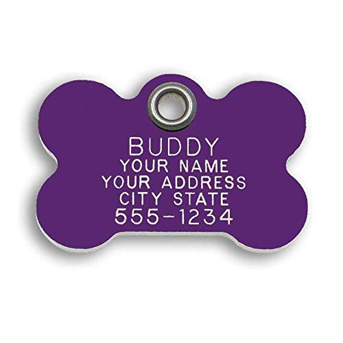 LuckyPet Pet ID Tag - Purple Plastic Bone - Custom Engraved Metal Dog ID Tags - Engraved on Front, Reflective on Back - Size: Medium