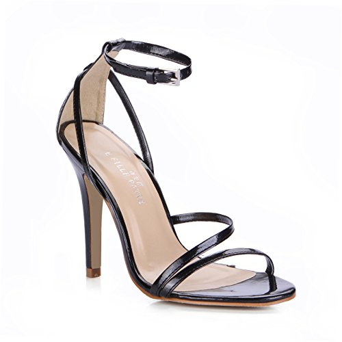 New Female sandals black paint leather wild minimalist in office working fine high-heel shoes