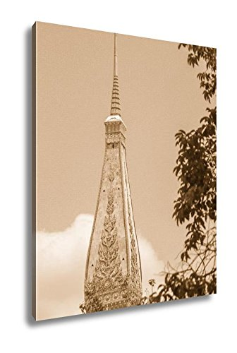 Ashley Canvas Thai Pagoda Style With Blue Sky, Wall Art Home Decor, Ready to Hang, Sepia, 20x16, AG5263192 by Ashley Canvas