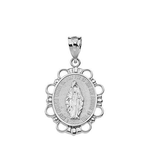 - Fine 925 Sterling Silver Miraculous Medal Of Blessed Virgin Mary Pendant (Small)