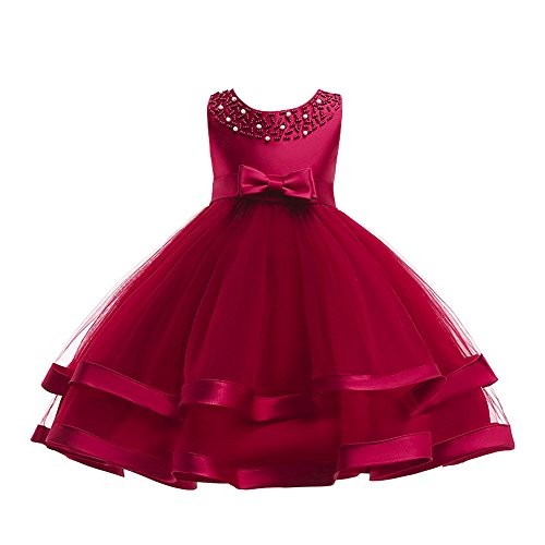 Kids Toddler Baby Girls Dresses,Sleeveless Solid Lace Bowknot Princess Party Formal Clothes 3-7 Years (Size:5T, Hot Pink)